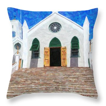 Throw Pillow featuring the photograph St. Peter's Church  by Verena Matthew