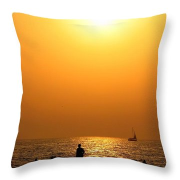 St. Petersburg Sunset Throw Pillow by Peggy Hughes