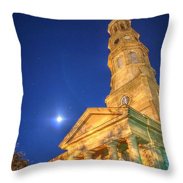 St. Phillip's At Night With Moon And Stars Throw Pillow