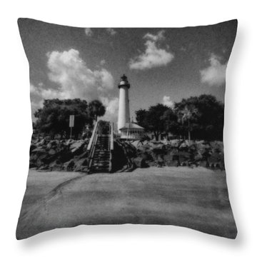St Simmon's Lighthouse 2 Throw Pillow by J Riley Johnson