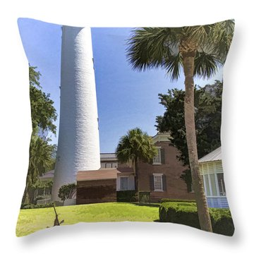 St. Simmons Lighthouse Throw Pillow