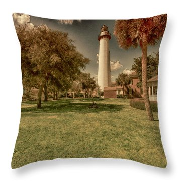 St. Simon's Island Lighthouse Throw Pillow by J Riley Johnson