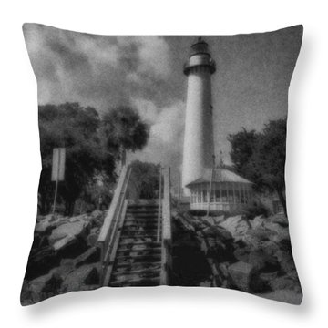 St. Simon's Lighthouse 3 Throw Pillow by J Riley Johnson