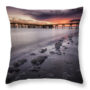 St. Simons Pier At Sunset Throw Pillow
