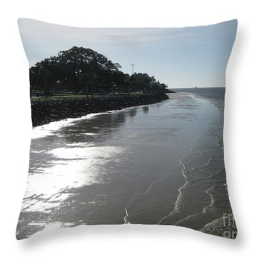 St. Simon's Waves Throw Pillow by Gretchen Allen