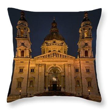St Stephen's Basilica Budapest Night Throw Pillow