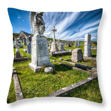 St Tudno Graveyard Throw Pillow by Adrian Evans