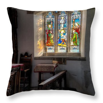 St Tysilio Window  Throw Pillow by Adrian Evans