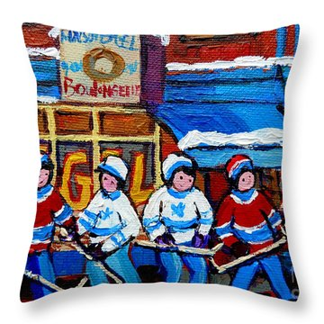 St Viateur Bagel Hockey Game Montreal City Scene Throw Pillow by Carole Spandau