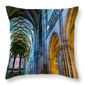 St Vitus Cathedral Throw Pillow by Dave Bowman