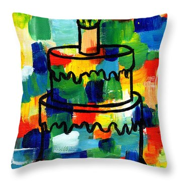 Stl250 Birthday Cake Abstract Throw Pillow by Genevieve Esson
