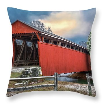 Staats Mill Covered Bridge Throw Pillow by Mary Almond