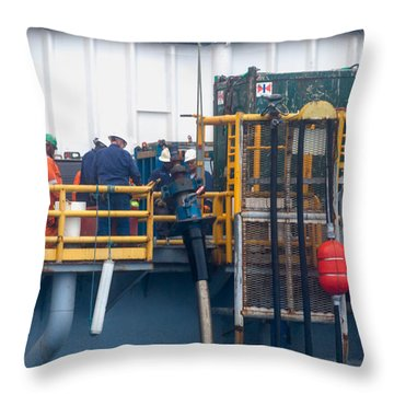 Stabbing Onto The Frac Hangar Throw Pillow by Gregory Daley  PPSA