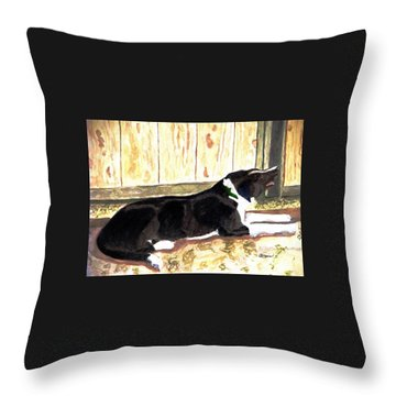 Throw Pillow featuring the painting Stable Duty by Angela Davies