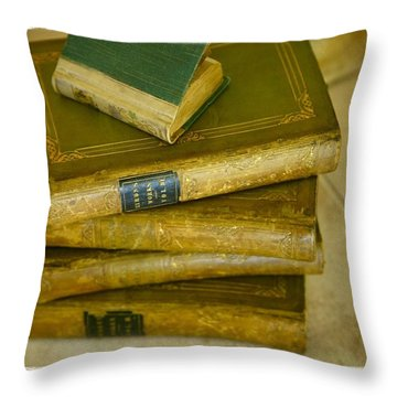 Stack Of Antique Books Throw Pillow by Don Hammond