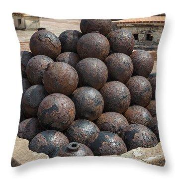 Stack Of Cannon Balls At Castillo San Felipe Del Morro Throw Pillow