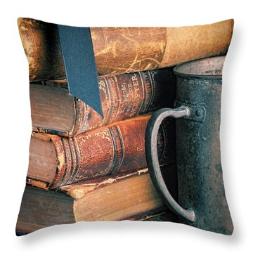 Stack Of Vintage Books Throw Pillow by Jill Battaglia