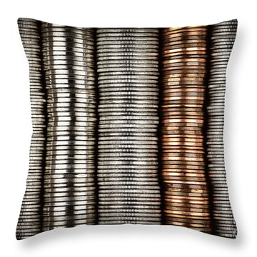 Stacked Coins Throw Pillow by Elena Elisseeva