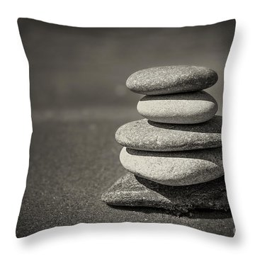 Stacked Pebbles On Beach Throw Pillow