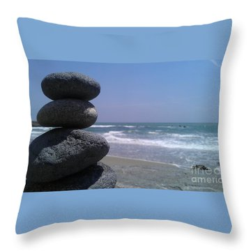 Throw Pillow featuring the photograph Stacked Rocks by Chris Tarpening
