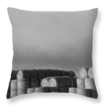 Stacked Round Hay Bales Bw Panorama Throw Pillow by James BO  Insogna