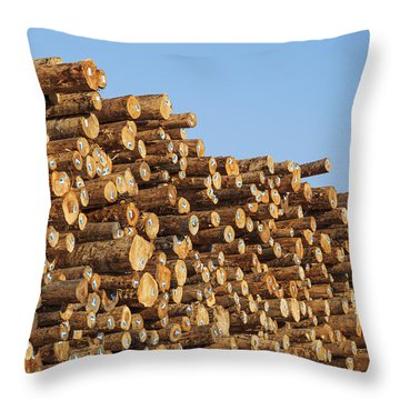 Throw Pillow featuring the photograph Stacks Of Logs by Bryan Mullennix
