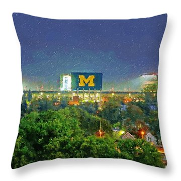 Stadium At Night Throw Pillow by John Farr