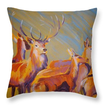 Stag And Deer Painting Throw Pillow