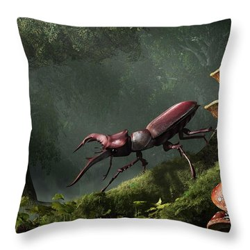 Stag Beetle Throw Pillow by Daniel Eskridge
