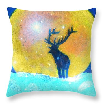 Stag Of Winter Throw Pillow