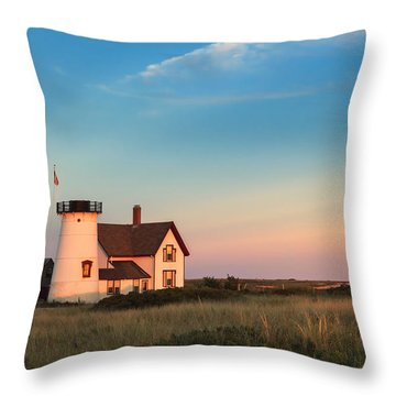 Stage Harbor Lighthouse Throw Pillow by Bill Wakeley