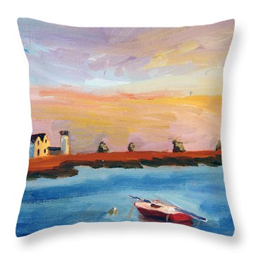 Stage Harbor Sunset Throw Pillow