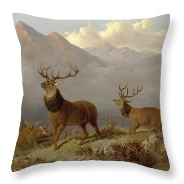 Stags And Hinds In A Highland Landscape Throw Pillow
