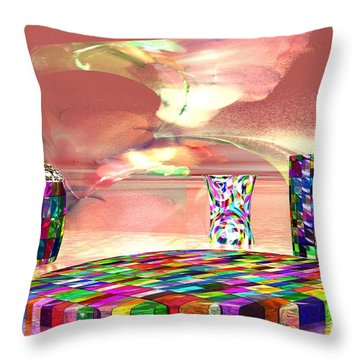 Stained Dinnerware Throw Pillow