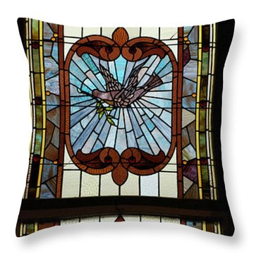Stained Glass 3 Panel Vertical Composite 05 Throw Pillow by Thomas Woolworth