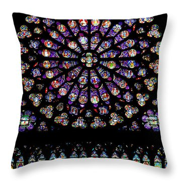 Stained Glass At Notre Dame Throw Pillow