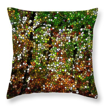 Stained Glass Autumn Colors In The Forest 1 Throw Pillow by Lanjee Chee