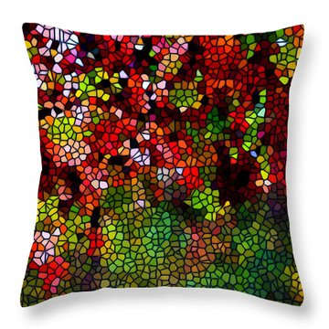 Stained Glass Autumn Leaves Reflecting In Water Throw Pillow by Lanjee Chee