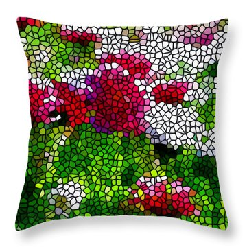 Stained Glass Chrysanthemum Flowers Throw Pillow by Lanjee Chee