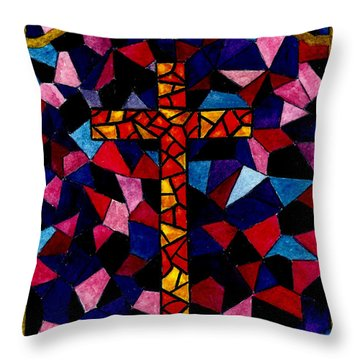 Stained Glass Cross Throw Pillow by Michael Vigliotti