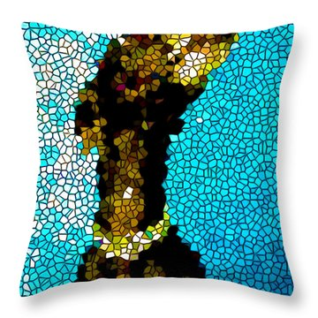 Stained Glass Doberman Pinscher Dog Throw Pillow by Lanjee Chee