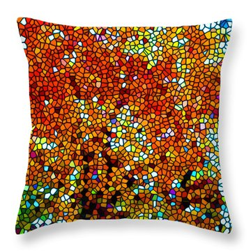 Stained Glass Fall Orange Maple Tree Throw Pillow by Lanjee Chee