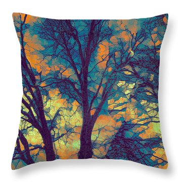 Stained Glass Forest No. 6 Throw Pillow