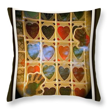 Throw Pillow featuring the photograph Stained Glass Hands And Hearts by Kathy Barney
