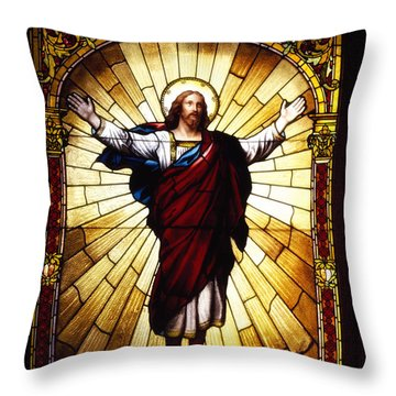 Stained Glass Jesus Throw Pillow by Mountain Dreams