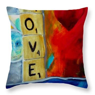 Stained Glass Love Throw Pillow
