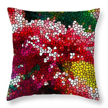 Stained Glass Red Chrysanthemum Flowers Throw Pillow by Lanjee Chee