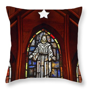 Stained Glass Saviour Throw Pillow by Al Powell Photography USA