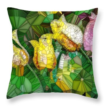 Stained Glass Series - Tulips Throw Pillow