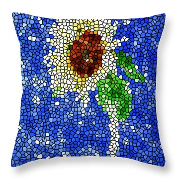 Stained Glass  Sunflower Over The Blue Sky Throw Pillow by Lanjee Chee